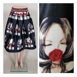 Mod/pop graphic full skirt